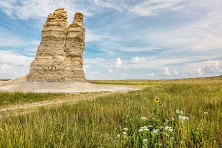 castle rock: Castle Rock - limestone pillar landmark in prairie of western Kansas near Quinter (Gove County) with wildflowers, summer scenery