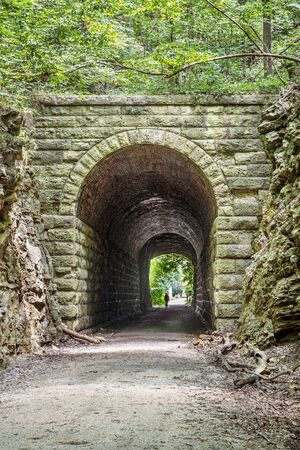 bike trail: MKT tunnel on Katy Trail at Rocheport, Missouri. The Katy Trail is 237 mile bike trail stretching across most of the state of Missouri converted from an old railroad.