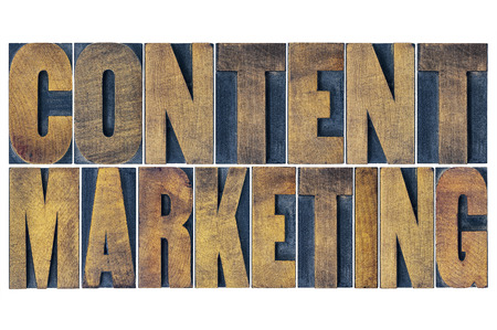 marketing online: content marketing  - isolated word abstract in grunge letterpress wood type printing blocks