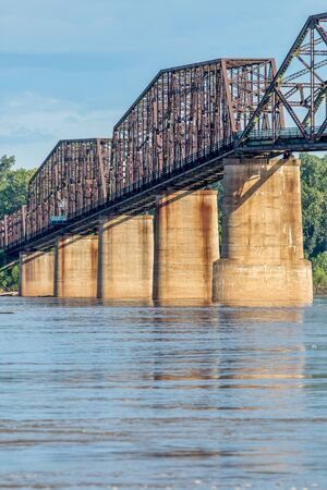 st louis: a detail of The Old Chain of Rocks bridge and historic water (intake) tower on the Mississippi River near St Louis Stock Photo
