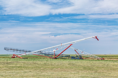 conveyors: grain conveyors in agriculture landscape of Kansas prairie