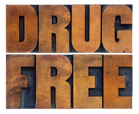 wood type: drug free word abstract in vintage letterpress wood type printing blocks