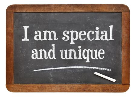 affirmation: I am special and unique - positive affirmation words on a vintage slate blackboard Stock Photo