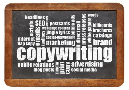 copywriting: copywriting word cloud on a vintage blackboard isolated on white Stock Photo