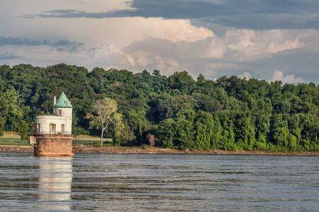 mississippi: Historic water intake tower number 1 built in 1894 below the Old Chain of Rocks bridge on the Mississippi River near St Louis