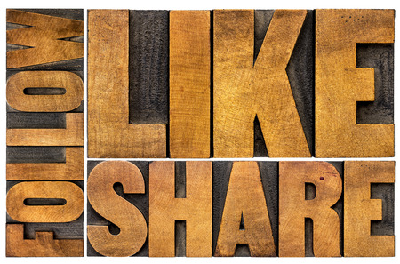 like, share, follow word abstract  - social media concept - isolated text in vintage letterpress wood type printing blocks Stok Fotoğraf