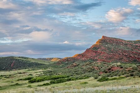 red mountain open space: Red Mountain Open Space in northern Colorado near Fort Collins, summer scenery at sunset
