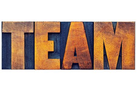 wood type: team word - isolated text in letterpress wood type printing blocks