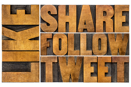 tweet: like, share, tweet, follow word abstract  - social media concept - isolated text in vintage letterpress wood type printing blocks