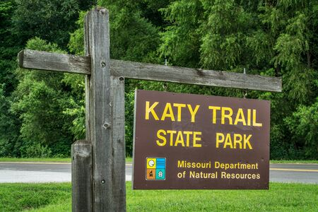 bike trail: KLONDIKE PARK MO, USA - AUGUST 1 2015: Welcome sign for Katy Trail State Park. The park is the nations longest rails-to-trails project, 237 mile bike trail, stretching from the Machens to Clinton. Editorial