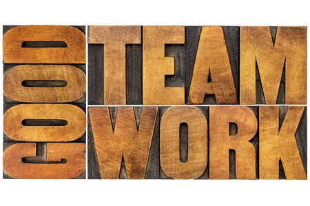 partnership: good teamwork word abstract or banner - isolated text in vintage letterpress wood type printing blocks
