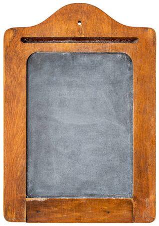 woo: small blank vintage slate blackboard in rustic wooden frame - message board Stock Photo