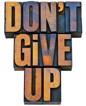 not give: do not give up - motivation concept - isolated phrase in vintage letterpress wood type printing blocks stained by color inks