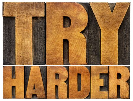 wood type: try harder motivational advice -isolated text in vintage letterpress wood type Stock Photo
