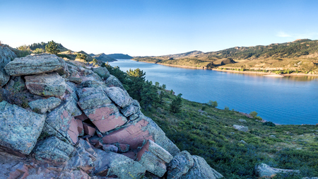 horsetooth reservoir: aerial panorama of southern part of the Horsetooth Reservoir near Fort Collins, Colorado, late summer scenery with a rock cliffs in foreground Stock Photo