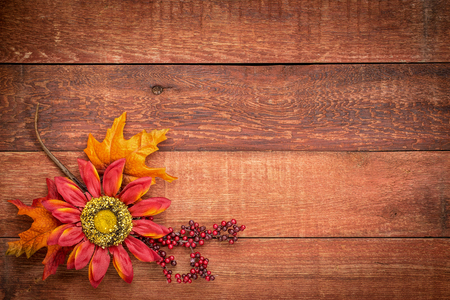 red barn: grunge red barn wood background with colorful fall decoration Stock Photo