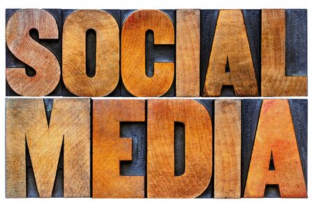 social media word abstract - isolated text in antique wood letterpress printing blocks with ink patina