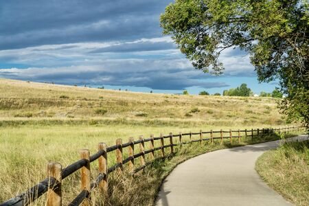 windsor: late summer on Poudre River Trail in northern Colorado near Windsor Stock Photo