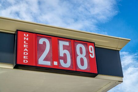 unleaded: unleaded gasoline price sign on a gas station in Colorado Stock Photo