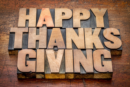 Happy Thanksgiving greetings card or sign -  text in vintage letterpress wood type blocks against rustic wood