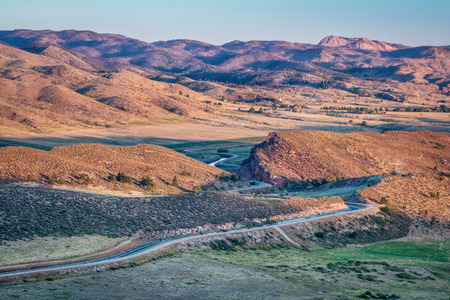 collins: sunrise over Charles Hansen canal below Horsetooth Reservoir, part of Big Thompson Project, Fort Collins, Colorado, Stock Photo