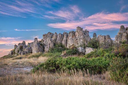 historical landmark: Natural Fort, historical and geological landmark at dawn, northern Colorado near Wyoming border Stock Photo