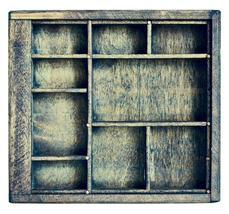 shadow: small vintage wood  case (typesetter drawer)  or shadow box with  dividers, isolated on white Stock Photo