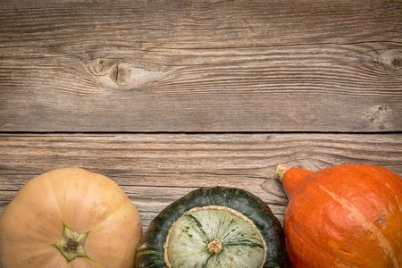 rustic weathered wood background with winter squash (Thelma Sanders, buttercup and hubbard)