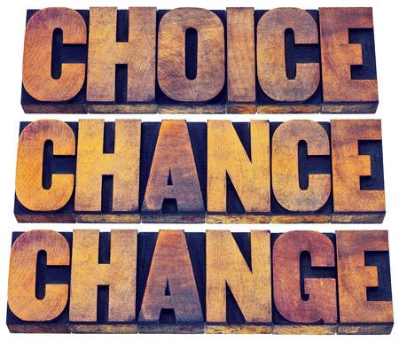 選択、機会、word 要約 - 3 を変更 Cs ライフ コンセプト - 活版印刷ブロック染色カラー インク木材の種類の独立したテキストで 写真素材