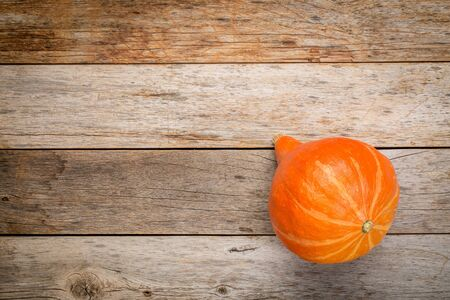 space wood: bright orange hubbard winter squash on a grunge weathered barn wood with a copy space