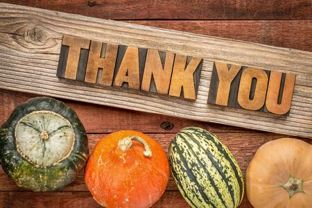 wood type: Thank you in letterpress wood type against weathered wood with winter squash - Thanksgiving theme Stock Photo