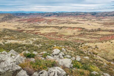 red mountain: rugged terrain with rocks, cliffs and canyons in Red Mountain Open Space in northern Colorado near Fort Collins Stock Photo