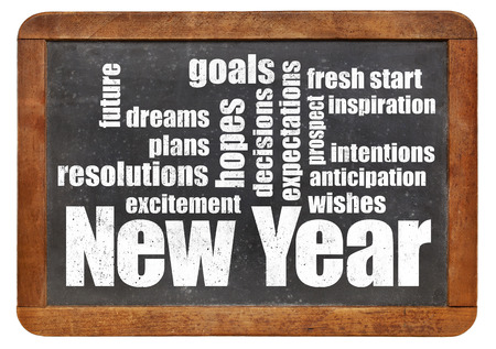 new start: New Year goals. plans and expectations - a word cloud on a vintage slate blackboard