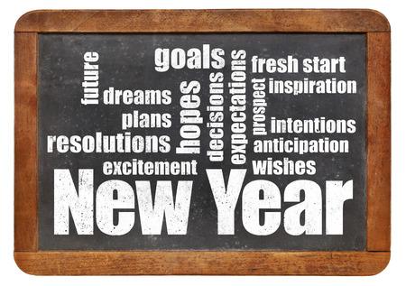 nowy rok: Nowy Rok cele. plany i oczekiwania - Chmura słowo na tablicy łupków rocznika Zdjęcie Seryjne