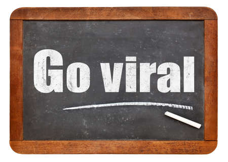 social actions: Go viral -white chalk text on a vintage slate blackboard
