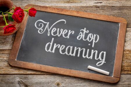 Never stop dreaming advice or reminder  - white chalk text on a vintage slate blackboard with red roses against rustic wood