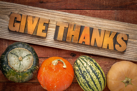 give: give thanks - Thanksgiving concept - word abstract in letterpress wood type over a grained cedar plank against rustic barn wood with winter squash