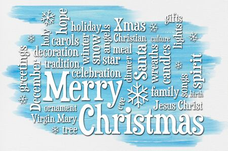christmas meal: Merry Christmas greetings word cloud - a greeting card or banner