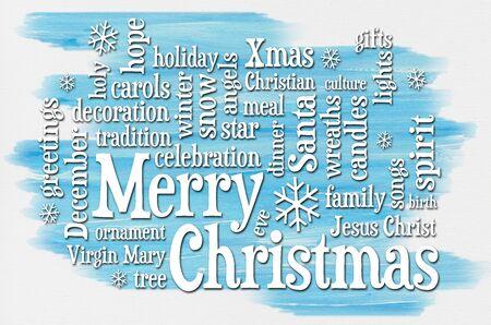 Merry Christmas groeten word cloud - een wenskaart of banner