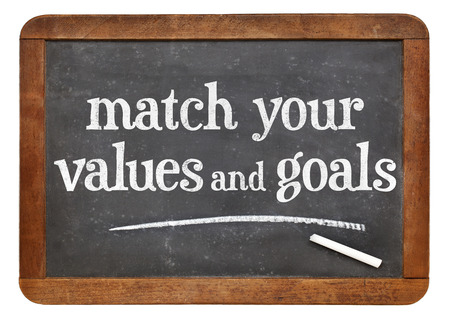 morale: Match your values and goals - inspirational advice on a vintage slate blackboard