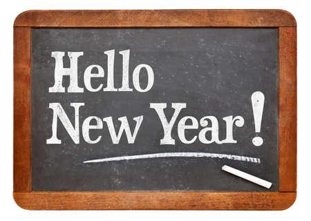 Hello New Year  - white chalk text on a vintage slate blackboard Stok Fotoğraf