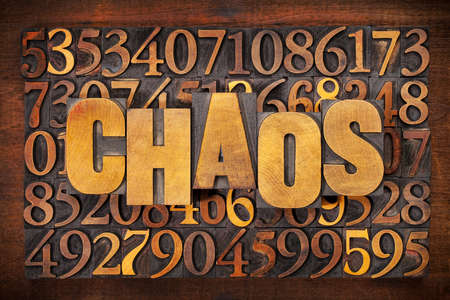 chaos: chaos and numbers word abstract in vintage letterpress wood type printing blocks