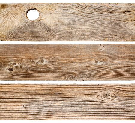 grained: grained and weathered cedar wood planks isolated on white Stock Photo