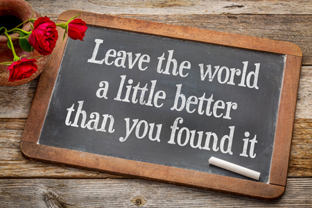 Leave the world a little better than you found it - life purpose and meaning concept  - white chalk text on a vintage slate blackboard with red roses against rustic wood
