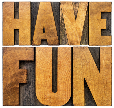 have fun word abstract - isolated text in vintage letterpress wood type blocks Stock Photo - 47607694