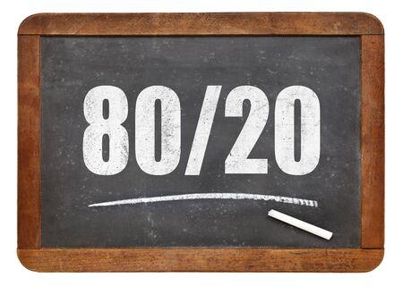 Pareto principle or eighty-twenty rule - white chalk text on a vintage blackboard blackboard