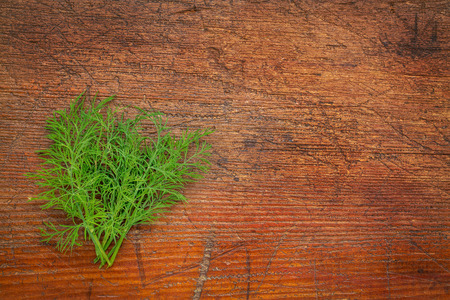 fresh green dill herb on rustic weathered wood with a copy space