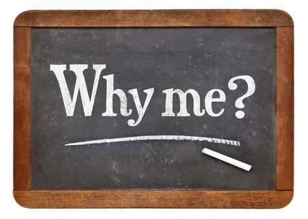 왜 내가 질문 - 빈티지 슬레이트 칠판에 흰색 분필 텍스트 스톡 콘텐츠