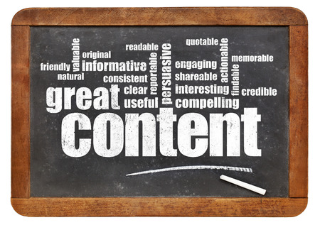 content writing: great content word cloud on a vintage blackboard - bloging and content marketing concept