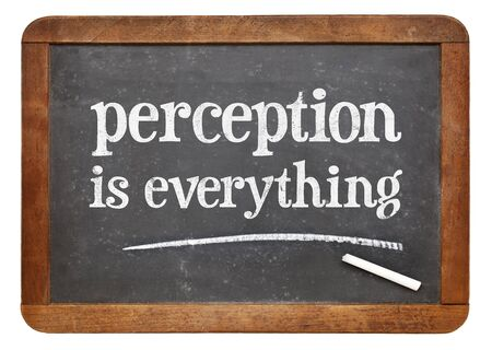 acknowledgement: Perception is everything - white chalk text on a vintage slate blackboard
